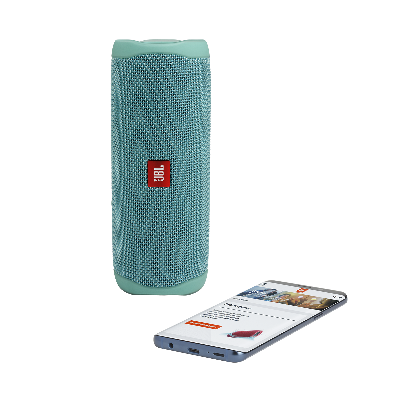 JBL FLIP 5 - Teal - Portable Waterproof Speaker - Detailshot 2